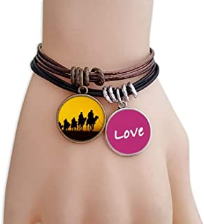 Silhouette Sunset Journey Silk Road Camel Desert Love Bracelet Leather Rope Wristband Couple Set
