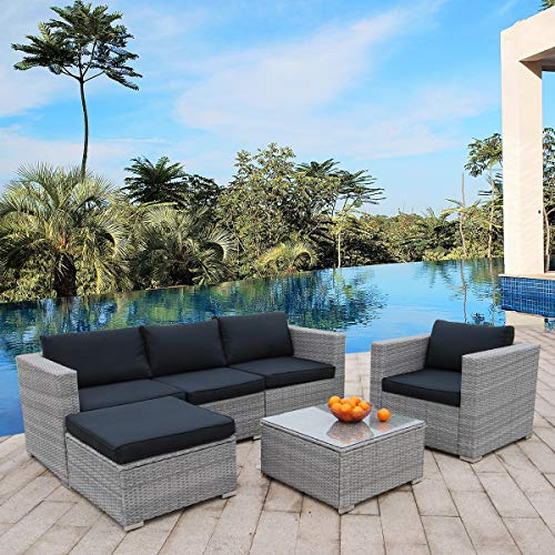 Polar Aurora 6pcs Patio Furniture Set PE Gray Rattan Wicker Sectional Outdoor Sofa Set Outside Couch w/Black Washable Seat Cushions & Modern Glass Coffee Table