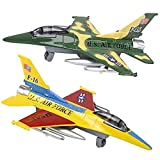 ArtCreativity Diecast F-16 Jets with Pullback Mechanism, Set of 2, Die Cast Metal Jet Plane Fighter Toys for Boys, Air Force Military Cake Decorations, Aviation Party Favors, Goodie Bag Fillers