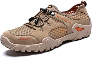 RongAi Chen Athletic Shoes for Men Sports Shoes Lace Up Style Mesh Material Fresh and Breathable Anti-Collision Toe (Color : Brown, Size : 6 UK)