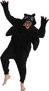 dressfan Animal Black Dragon Onesie Cosplay Costume Christmas Halloween Pajamas for Unisex Adults Teens Kids