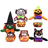 MIUNIKO Holiday Halloween Transparent Plastic Candy Jar Sweets Cookies Storage Box Gifts Props, 4-Piece Set