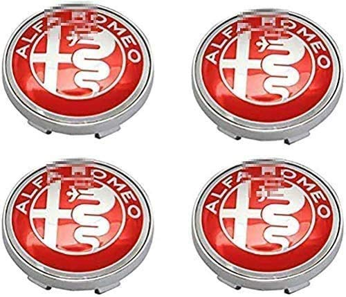 Emblema de tapas centrales de rueda de coche de 4 piezas,tapas centrales de cubo de llanta,insignia, cubierta central de aleación,decoración de modeladodeneumáticos, para Alfa Romeo Mito 147156159166