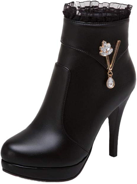 Shirloy Damenstiefel High Heel Zipper Damenschuhe Stiletto Chelsea-Stiefel Strass Spitze Schnürstiefel Temperament Komfortabel