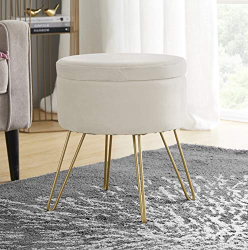 Ornavo Home Modern Round Velvet Storage Ottoman Foot Rest Stool/Seat with Gold Metal Legs & Tray Top Coffee Table - Cream