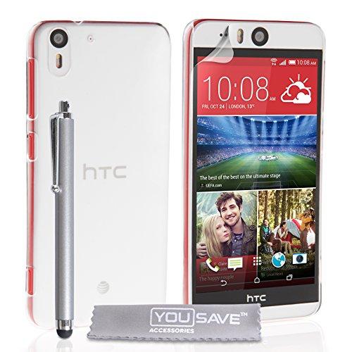 Yousave Accessories Kompatibel Für HTC Desire Eye Hülle Kristall Klare Hart Schutzhülle Mit Griffel Stift