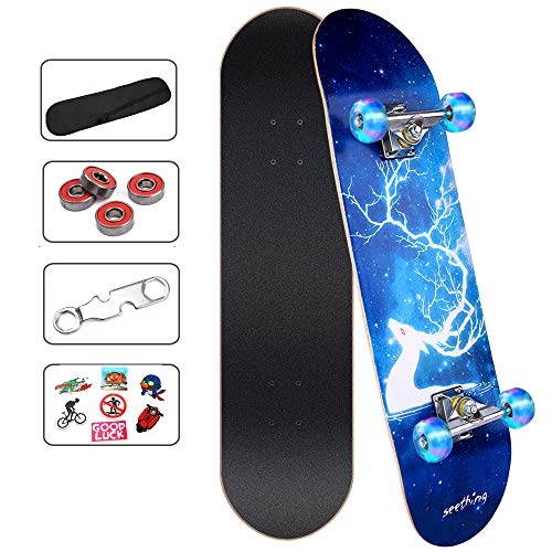 ArgoHome Skateboards for Beginners, Complete Skateboards 31'x 7.88', 7 Layer Maple Double Kick Concave Standard and Tricks with High Rebound PU for Teen Girls Kids Boys Youths & Adults Beginners