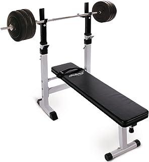 Physionics Banc de Musculation avec Repose Barre et Pupitre /à Biceps Kit dHalt/ères Complet