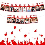 2021 Congrats Nurse Photo Banner Graduation Nurse Cap Photo Banner Congrats Nurse Picture Holder Banners Grad Nurse Cardstock Photo Banner Hanging RN Photo Garland for Nurse Grad Party Supplies, Red