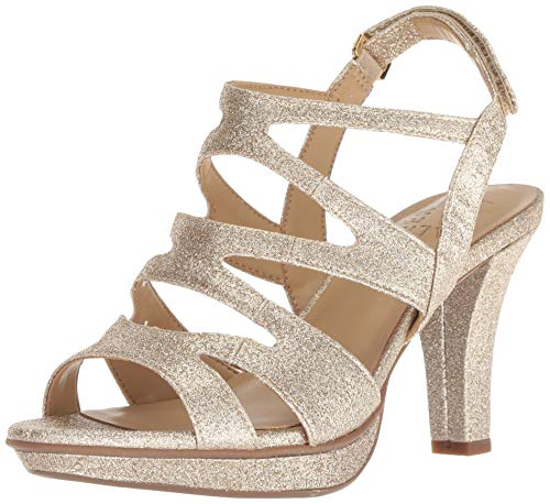 Naturalizer Womens Dianna Heeled Sandal Gold Glitter 7 M
