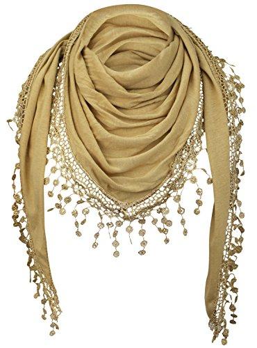 PiriModa Damen Halstuch Tuch Dreiecktuch mit Bommeln Viele Farben (Ockergelb)