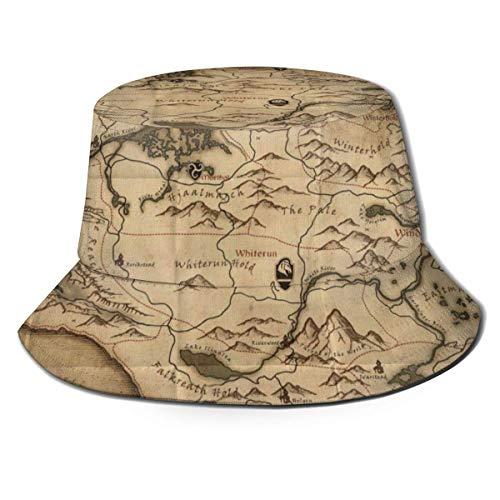 Sombrero de Cubo Mujer Hombre Sombrero de Cubo de ala Ancha al Aire Libre Protección Solar Gorra de Pescador El Viejo Mapa en el Juego Provincia de Skyrim