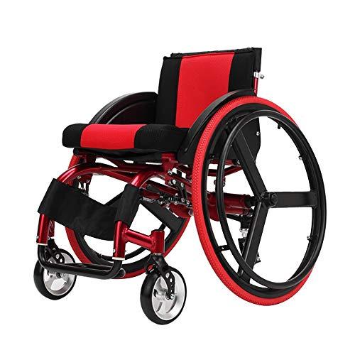 YJR Tragbare Rollstuhl Mit Kippschutz, Klappbarem Sport- Und Freizeitrollstuhl Aus Aluminiumlegierung Und Selbstfahrendem Rollstuhl Erfüllt Die Anforderungen Des Ergonomie-Stoßdämpfers Für Das Hinterr