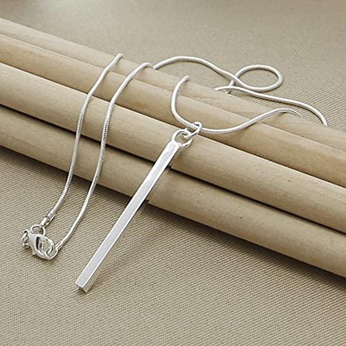 DOOLY Collar con Colgante de Pilar Redondo/Cuadrado de Plata de Ley 925, Cadena de Serpiente de 18 Pulgadas, joyería para Fiesta de Compromiso de Boda para Mujer, Regalos