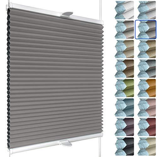 SchattenFreude Waben-Plissee nach Maß für Fenster & Tür | 100% verdunkelnd/Blackout | Zum Anschrauben in der Glasleiste | Grau (Weiße Rückseite), Breite: 20-50cm x Höhe: 30-100cm