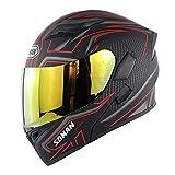 SOMAN 955 バイクヘルメット システム システムヘルメット フリップアップヘルメット ヘルメット バイクヘルメット フルフェイス 強化シールド 春 秋 冬 PSC付き (赤線柄ゴールドシールド, XXL)