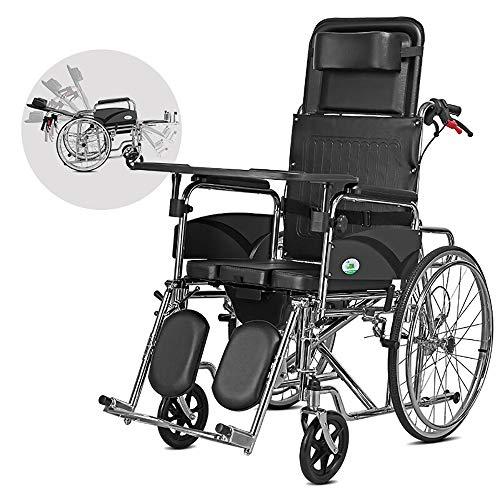 MYYLY Rollstuhl Rollstuhl Multifunktions-Full-Lügen-Transport Faltender Tragbarer Reise-Stuhl, Der Ältere Behinderte Mit Töpfchen-Trolley Trägt Rollstühle