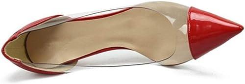 MUJUN Moda Summer Elegant D'orsay Pumps para damen, Punta Estrecha Tacones De Aguja Lateral Transparente Vestido De Fiesta Bola De Baile schuhe para Damas (Farbe   rot 10 cm Heel, Größe   40 EU)