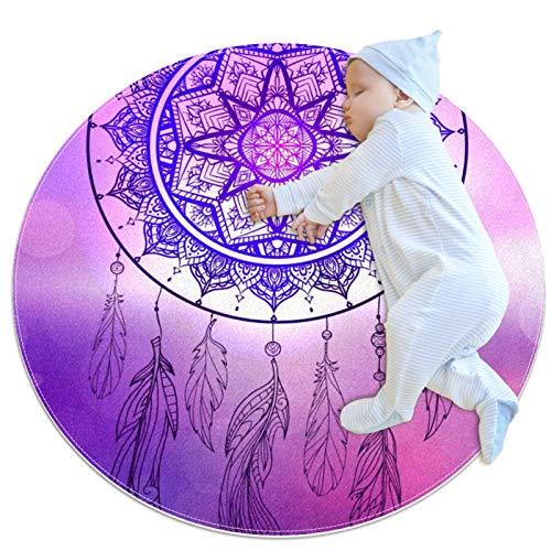 HOHOHAHA tapis décoratif salon tapis rond tapis fille tapis yoga tapis lavable salon tapis tribal attrape-rêves