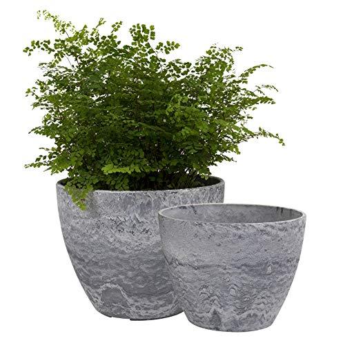Maceta, jardineras Exterior, Maceta Interior, macetas con Agujeros de Drenaje, patrón de mármol Gris (19 +22cm)