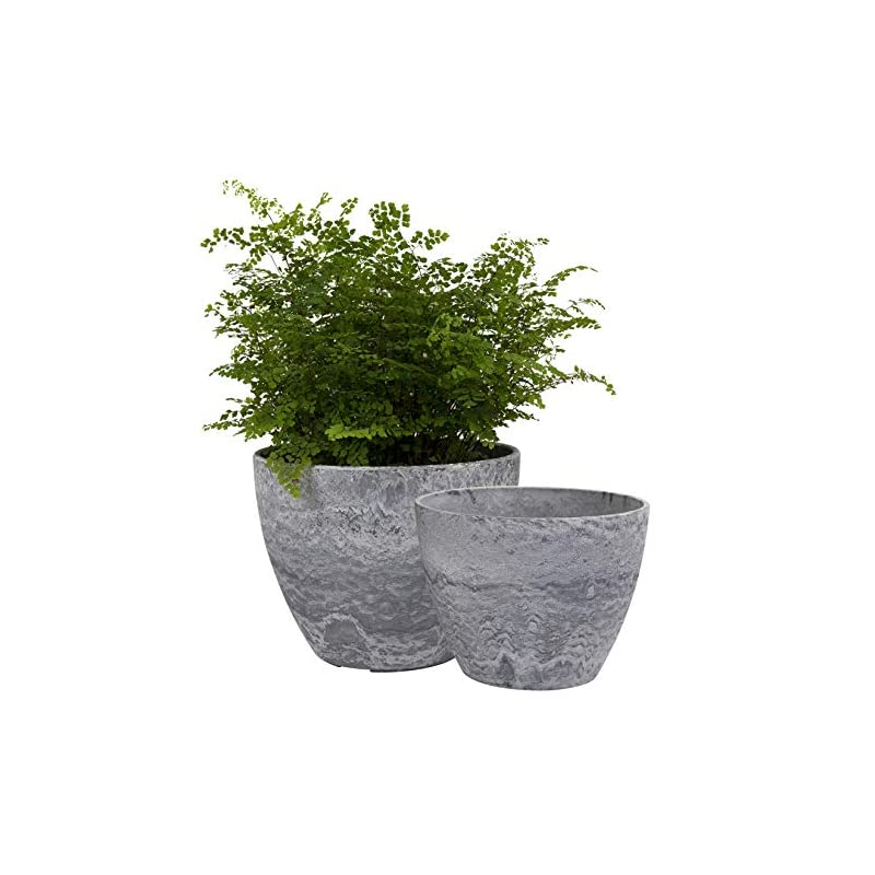 silk flower arrangements flower pots outdoor indoor garden planters, plant containers with drain hole, gray, marble pattern (8.6 + 7.5 inch)
