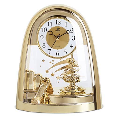 JCOCO Américain moderne simple et silencieux bureau horloge salon/étude/chambre décoration créative (Couleur : Or)