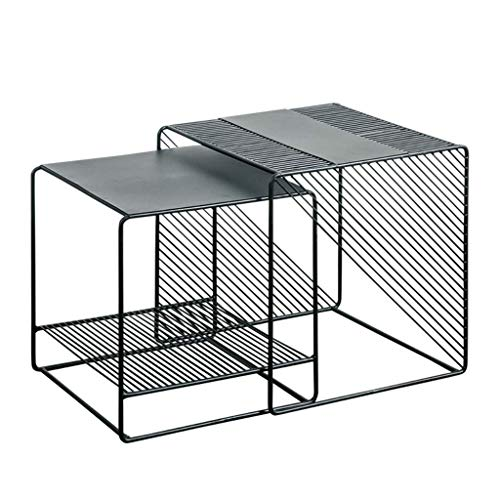 YVX Set of 2 Nesting Coffee Tables Decorative Accent Side End Tables Plant Stand Chair for Bedroom, Living Room, Home Office and Patio - Black