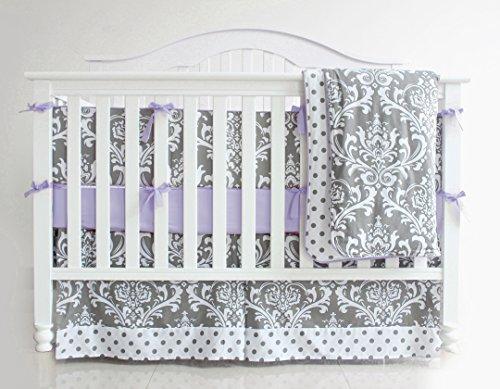 (Pink/Purple) 7 Pieces Set Grey Floral Baby Crib Nursery Bedding Set With Bumper