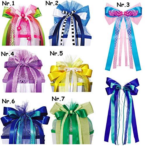 alles-meine.de GmbH große - Schleife - für Schultüte - rosa / pink & grün - weiß - 60 cm lang - mit edlen Satin Bändern + Perlenband mit Blüten & Blumen + Tüllband - für Geschenk..