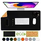 Almohadilla de escritorio de oficina de doble cara de corcho y cuero ecológico Aothia,alfombrilla de ratón,protector de escritorio para oficina/juegos en el hogar 80 * 40cm (Negro)