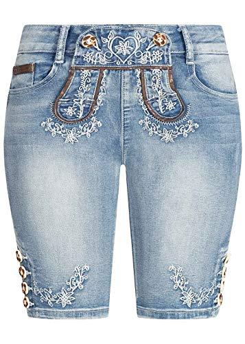 Seventyseven Lifestyle Damen Trachten Capri Jeans Shorts 5-Pockets hell blau Denim, Gr:S