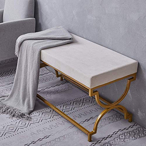 Upholstery Fabric Velvet Footstool for EntrywayBench Seat with Gold Metal Legs for Home Office Grey