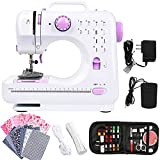 Dechow Portable Sewing Machine for Beginners, 12 Built-in Stitches with Reverse Sewing, 2 Speeds Double Thread with Foot Pedal, 14 Pcs Floral Cotton Fabric, 20 Pcs Nose Bridge Metal Wire, 21 Yards Elastic Rope, 27 Pcs DIY Sewing Kit Set (Purple3)