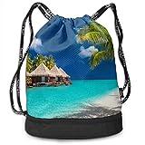 Kleine Pavillons und Palmen drucken Kordelzug Rucksack Tasche Outdoor Bundle Rucksack Gym Sackpack Sport Cinch Bag Laptop Sack Bag