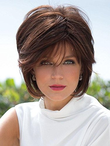 Reese Wig Avg Cap Color Chocolate Swirl - Noriko Wigs Women's Tousled Bob Synthetic Short Choppy Layers Side Fringe Open Weft