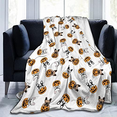 Flanel Blankets, Soft Fuzzy Throw Blankets for Kids, Boys, Girls, Decorative Blanket, Throw French Bulldog Pumpkin Halloween Blankets, Ultra Soft Throw Blanket for Chair, Bed, 40x50 Inch