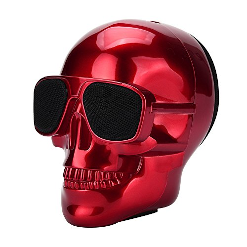 GorNorriss Electronics Gadgets Plating Skull Protable Wireless Bluetooth Stereo Speaker with HD Sound and Bass (Red)