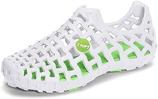 Violet&HS Women's White Green Plastic Rubber Big Breathable Hollow Out Flat Sandals/Beach Shoes (US10)