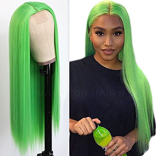 Maycaur Lace Front Wigs Long Straight Hair 22 Inch Lime Green Color Wigs for Fashion Women Synthetic Lace Front Wigs with Natural Hairline