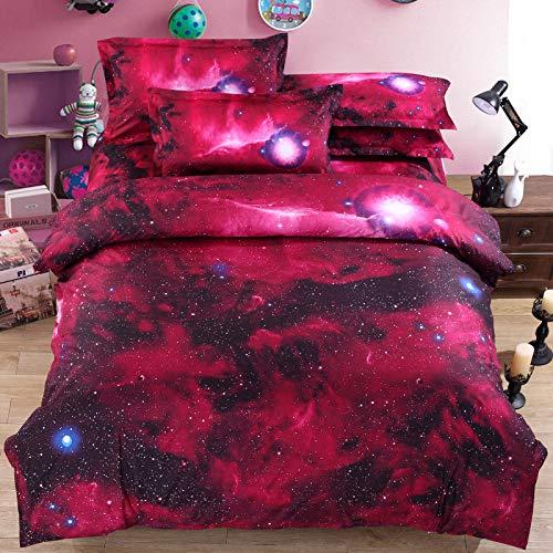 HYZSM Funda Nórdica Cama 180 Cielo Estrellado Rojo 220×230CM Suave y Agradable de Microfibra Ligera con Cierre de Cremallera Funda Edredón 3 Piezas con 2 Fundas de Almohada 50X75 CM