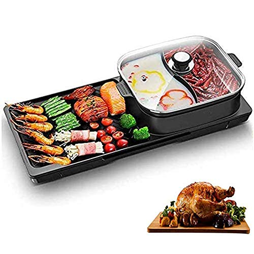 CHZHENG 2 in 1 Electric Teppanyaki Table Grill,Balcony Grill Indoor Grill,Barbecue Electric Grill Smoke-Free with,for 6 People Use