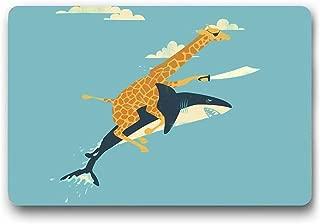 Funny Rubber Door Mat Front Doormat Giraffe Riding Shark Floor Mat Indoor Outdoor Waterproof Doormats Novetly Gifts Idea Non Slip Heavy Duty Entryway Rugs (L23.6