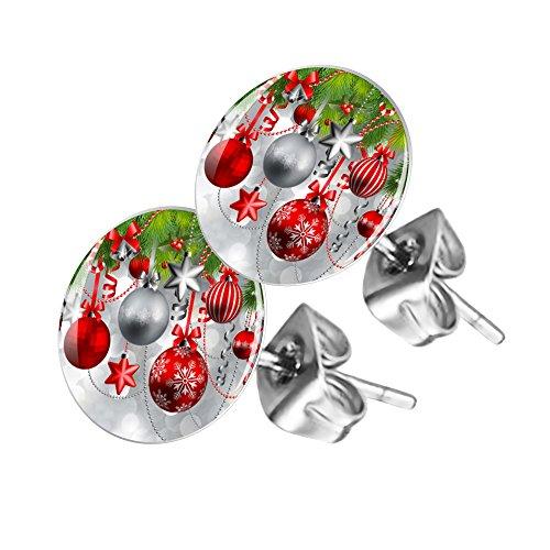 Piersando Ohrstecker Ohrringe Runde Kleine Stecker für Damen oder Kinder Silber mit Weihnachtskugeln Motiv