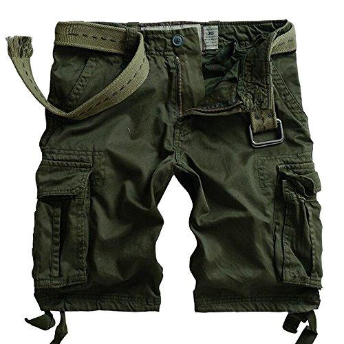 AKARMY Men's Camo Cargo Shorts Outdoor Multi-Pocket Casual Shorts 8062# Army Green 36