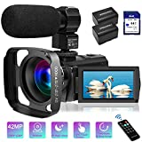 Video Camera Camcorder with Microphone FHD 1080P 30FPS 42MP IR Night Vision Digital Camera for YouTube Vlogging 3 Inch IPS Touch Screen Camcorder Recorder with 64GB SD Card,Remote Control, Lens Hood