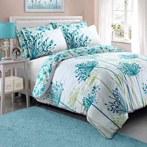 Sleepdown Funda de edredón y Fundas de Almohada de Color Verde Azulado