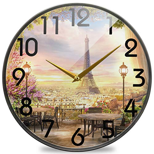 Naanle 3D Beautiful Paris View from Balcony Cafe Eiffel Tower Round Wall Clock, 12 Inch Silent Battery Operated Quartz Analog Quiet Desk Clock for Home,Office,School,Cafe