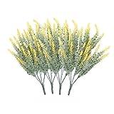 Houdao 4 piezas de flores falsas para decoración, flores artificiales de lavanda flocadas, flores de plástico real Touch en jarrón para la pared de la habitación del jardín, fiesta de bodas (amarillo)