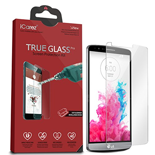 iCarez [Tempered Glass Screen Protector for LG G3 Easy Install [1-Pack,0.3mm 2.5D 9H] - Retail Packaging