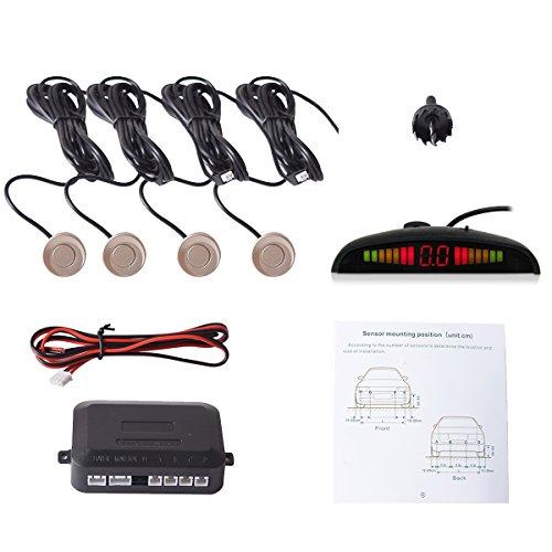 CoCar Auto Rückfahrwarner Einparkhilfe 4 Sensoren Einparkassistent Einparksystem PDC + LED Anzeigen + Akustische Warnung - Champagner Gold